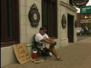 Coach Dave Daubenmire camped outside the office of Rep. Zack Space (D-Ohio)
